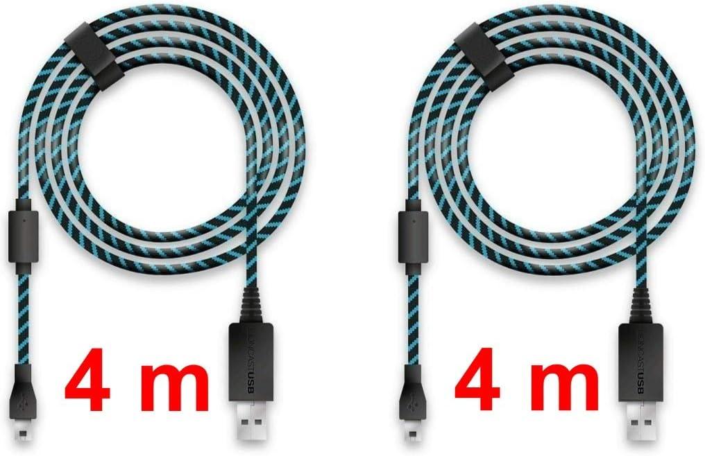 Lioncast 2x Cable de carga del controlador para Xbox One y PS4, 4 metros con protección de cubierta textil y correa organizador de cable, Micro USB 2.0 - Azul y Negro