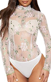 ouxiuli Mens Night Club Style Lace See Through Mesh Dress Shirt