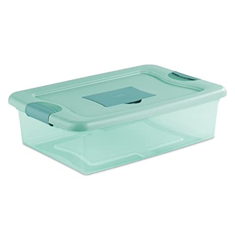 Sterilite 15067Y06 32 Qt 30L Fresh Scent Box Aqua Tent base with Aqua Chrome  sc 1 st  Amazon.com : tent lid - memphite.com