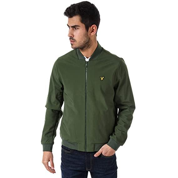 f2689ae8e Mens Lyle and Scott Softshell Plain Bomber Jacket in Green- Zip ...