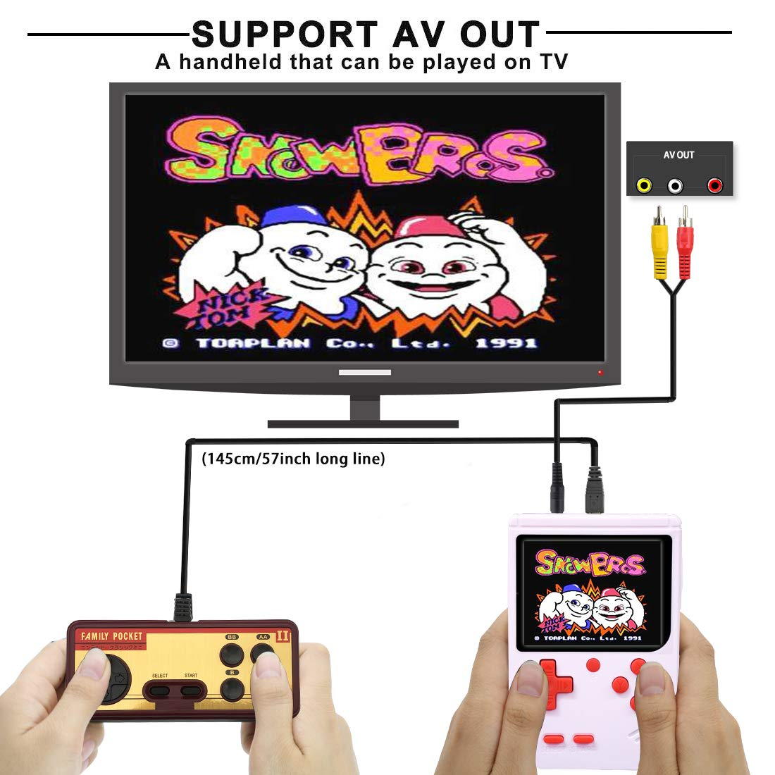 AKTOUGST Handheld Game Console, Retro Game Console 400 Classic Game FC System Video 3 Inch with Headphone Portable Mini Extra Joystick Controller Support TV 2 Player,Gift for Children Adult, (White) by AKTOUGST (Image #2)