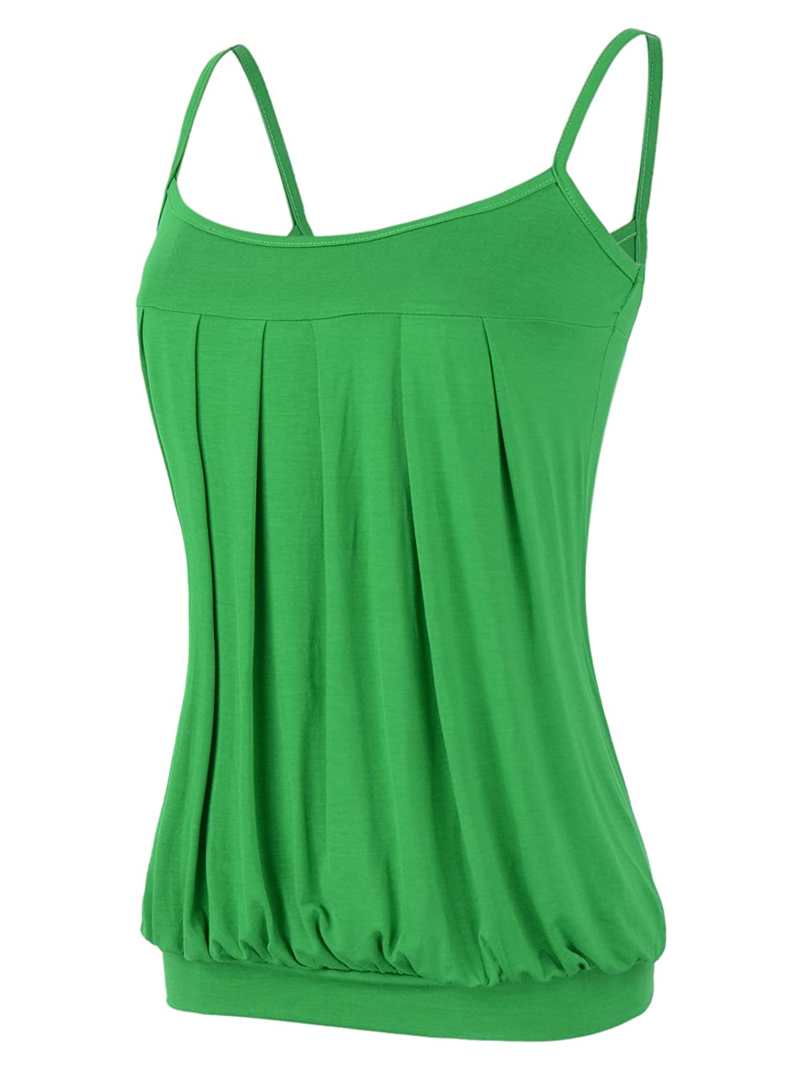4169aa934973b0 Maggie Tang Women s Strappy Pleated Camisoles Basic Cami Top Pleated Tube  Top at Amazon Women s Clothing store
