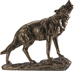 SUMMIT COLLECTION Howling Wolf Figurine Statue Bronze Painted Cold Cast Resin Decorative Wildlife Sculpture Home Decor 10 inch Tall