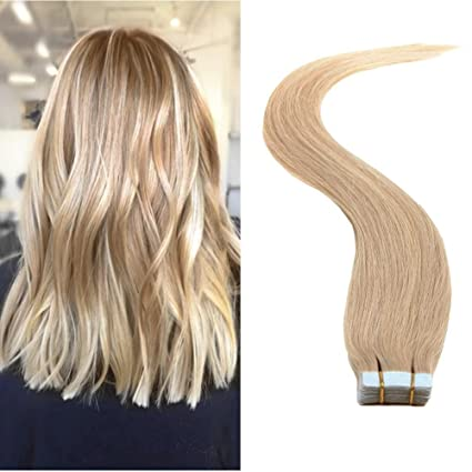 836167ccda696 Buy TheFashionWay Brazilian Human Hair Extensions Tape in Silky Straight  Weft Remy Virgin Hair (16 inches