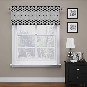 Window Valance Classical Stylish Victorian Fashion Inspired Shapes Artistic Modern Print Insulated Kitchen Curtain Valances Fabric is Smooth and Substantial Black and White 42 x 18 Inch