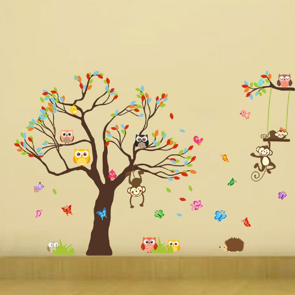Amazon.com: Amaonm Cute Huge Size Colorful Rainbow Tree & Animals ...