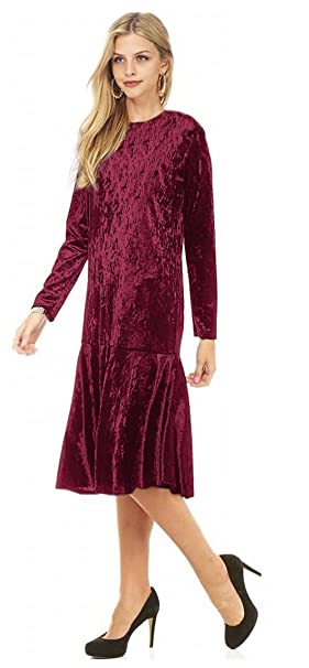 1920s Style Dresses, Flapper Dresses Tabeez Womens Long Sleeve Below Knee Ruffle Hem Crushed Velvet Midi Dress $29.99 AT vintagedancer.com