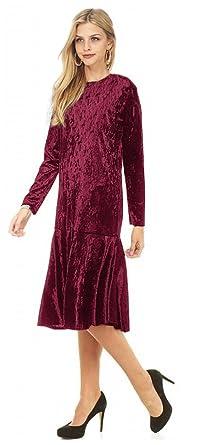 63795c6ffcc4 Tabeez Women s Long Sleeve Below Knee Ruffle Hem Crushed Velvet Midi Dress