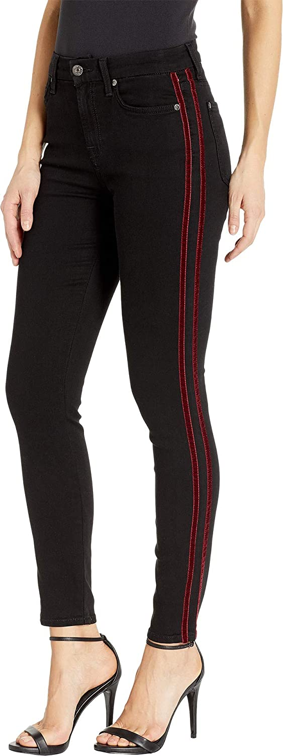 7 For All Mankind Womens b air High-Waisted Ankle Skinny with Double Burgundy Velvet Stripes in Black