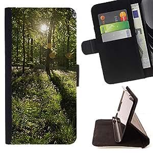 For Apple iPhone 5 / iPhone 5S,S-type Forrest Sun- Dibujo PU billetera de cuero Funda Case Caso de la piel de la bolsa protectora