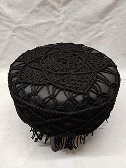 Astonishing Home Livtex Knitted Macrame Wooden Stool Black Amazon In Ibusinesslaw Wood Chair Design Ideas Ibusinesslaworg