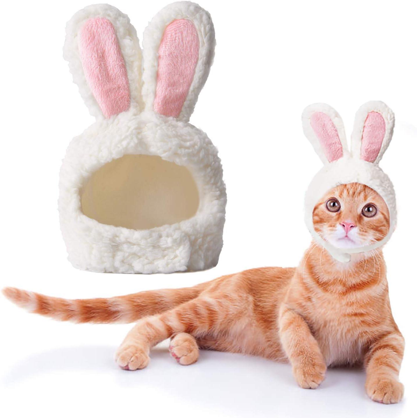 Disfraz Gato, Disfraz de Conejo de Gato de tamaño Ajustable, Disfraz de Cachorro de Pascua, Disfraz para Gato Orejas de Conejo para Cosplay de Pascua