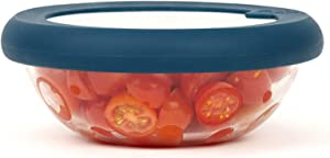 Food Huggers Flexible Stackable Silicone & Glass Bowl Lid (M, TEAL)