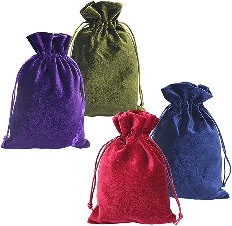 HRX Package Soft Velvet Gift Bags, 5.1x7.8 inch Velvet Drawstring Pouches for Tarot Rune Jewelry Crystal 4 Pack