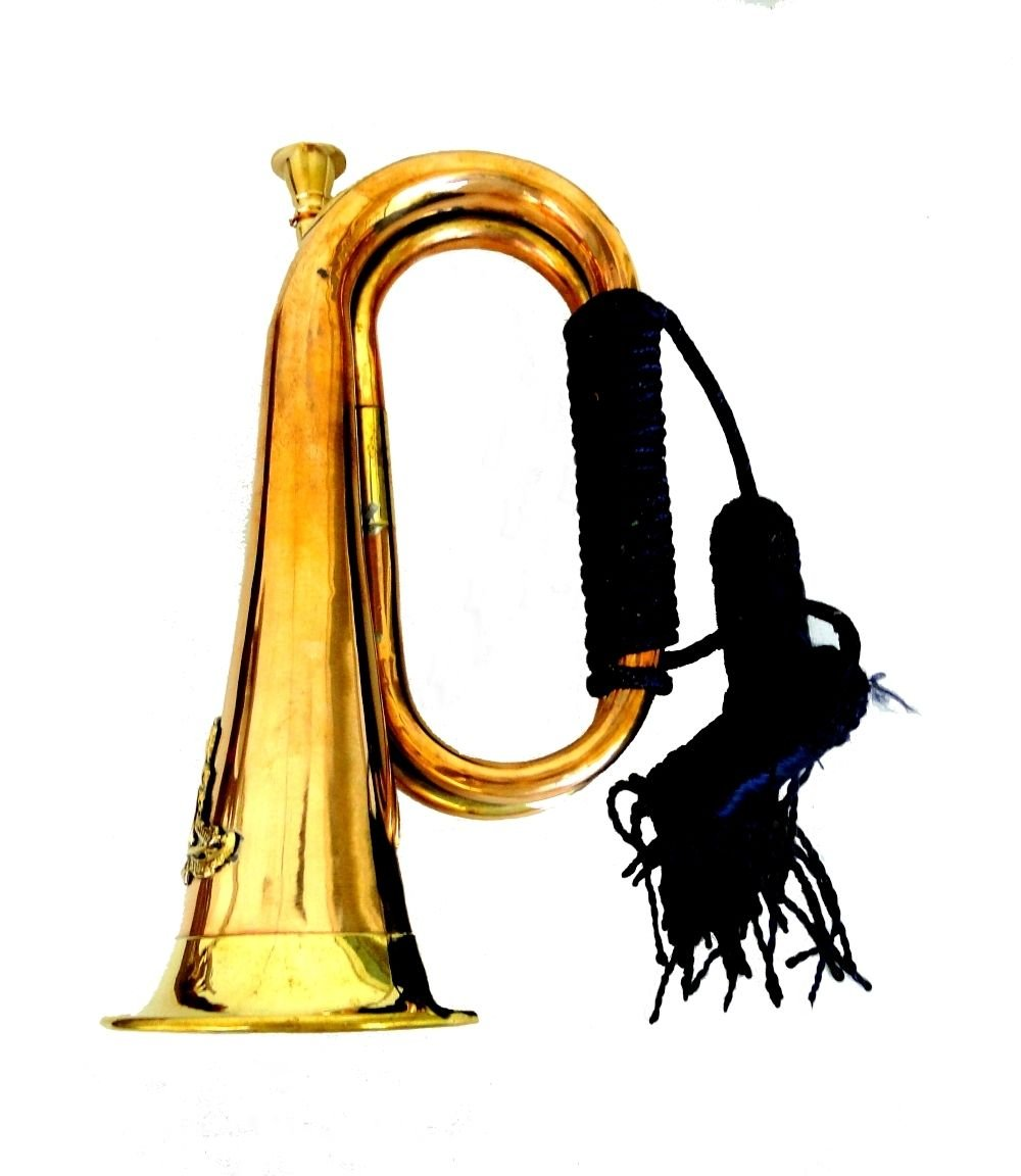 Trumpet Bugle in Copper and Brass for Parade or Decor with Rope Tassel & Crest Logo