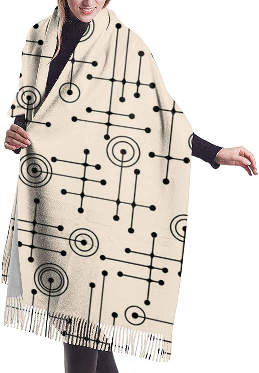 Seamless Abstract Mid Century Modern Pattern Womens Shawl Wrap Winter Warm Scarf Cape Large Scarf Oversized Scarves 77x27 inch
