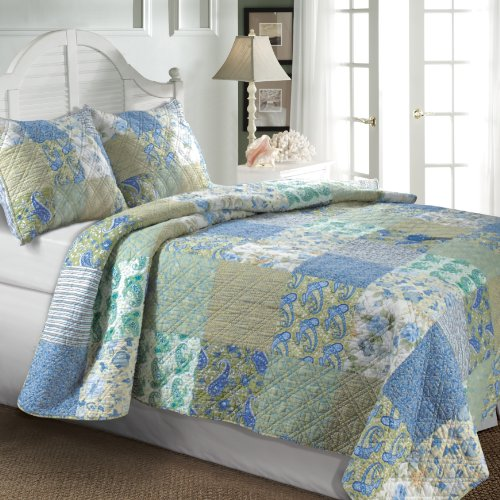 Greenland Home Vintage Jade 90-Inch by 90-Inch Full/Queen Quilt Set