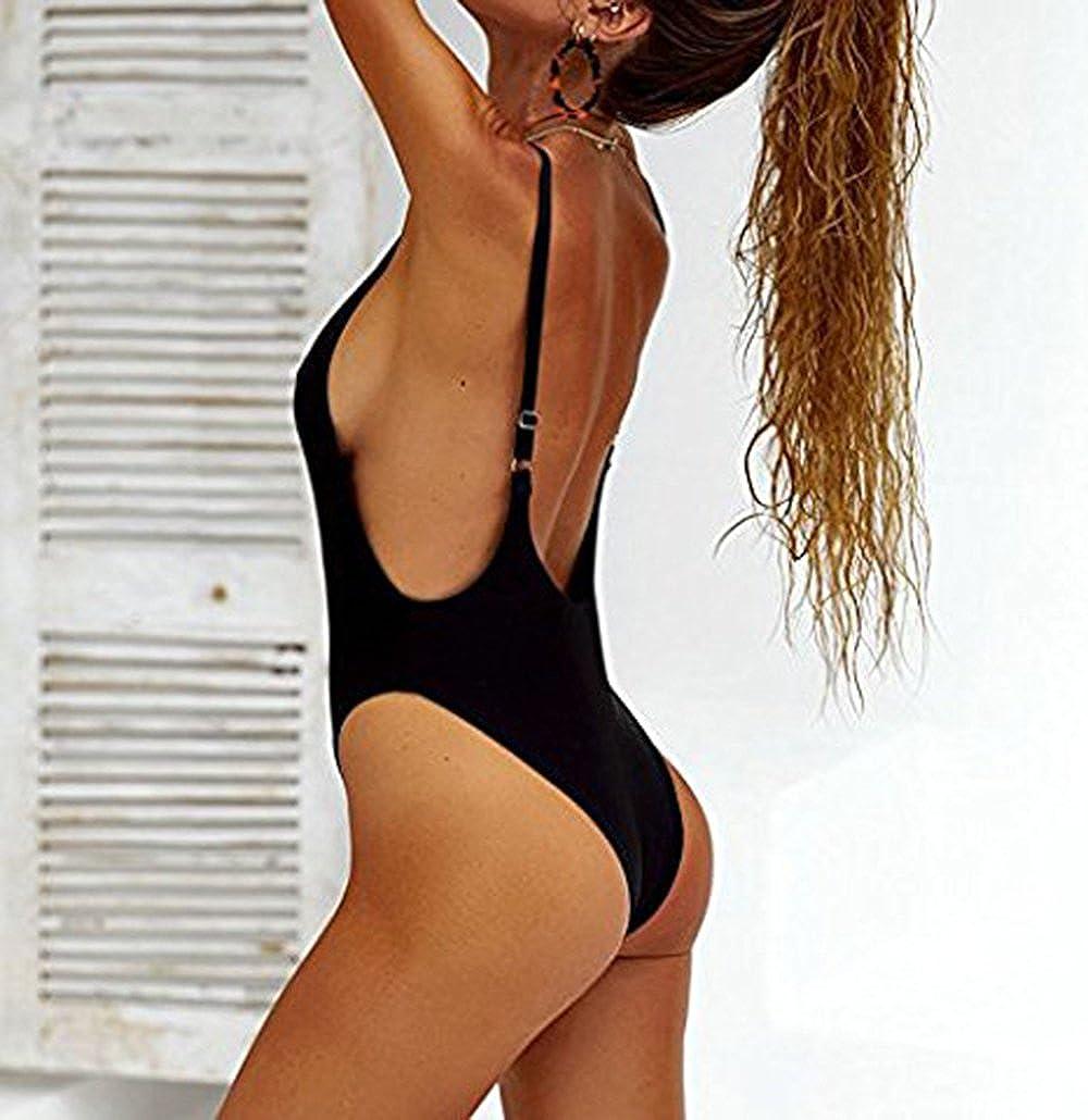 edff9729f5339 PRETTYGARDEN Women's One Piece Halter Straps U Neck Backness Swimsuits  Monikini Bathing Suit at Amazon Women's Clothing store: