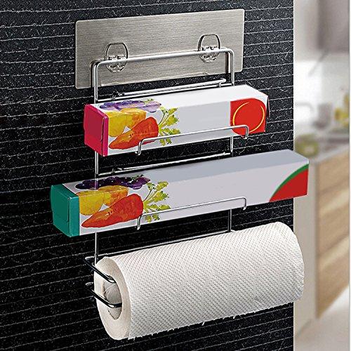 Facile à Fixer Kurelle Support Mural Autoadhésif 3 en 1 Rangement Organisation Papier Aluminium, Papier Sulfurisé, Film Etirable, Sopalin, Essuie-tout, Idéal pour Cuisines Etroites et Restaurants