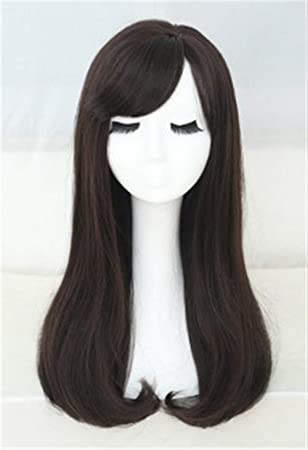 Mujer largo peluca de pelo recto cabeza completa oblicua Bangs ...