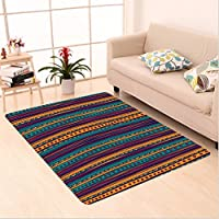 Nalahome Custom carpet Striped Retro Aztec Pattern with Rich Mexican Ethnic Color Folkloric Print Teal Plum and Orange area rugs for Living Dining Room Bedroom Hallway Office Carpet (4 X 6)