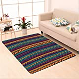 Nalahome Custom carpet Striped Retro Aztec Pattern with Rich Mexican Ethnic Color Folkloric Print Teal Plum and Orange area rugs for Living Dining Room Bedroom Hallway Office Carpet (4' X 6')