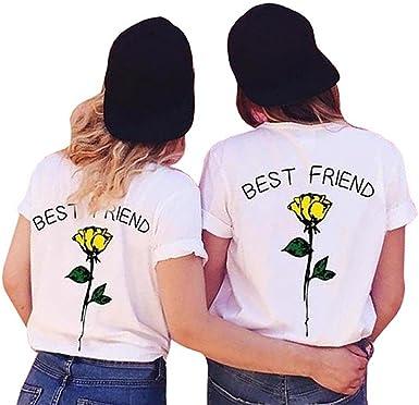 Queque Shine Mejores Amigas Camiseta Best Friend 1 Piezas Impresión T-Shirt Hermanas con Manga Corta Causal Camisa Para Mujeres: Amazon.es: Ropa y accesorios