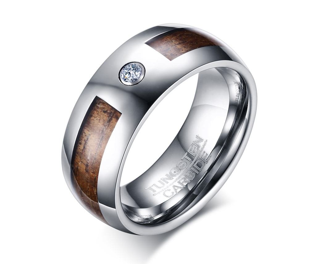 Tungsten Carbide Cubic Zircon Wood Camo Inlay Domed Wedding Engagement Ring Bands, Size 9