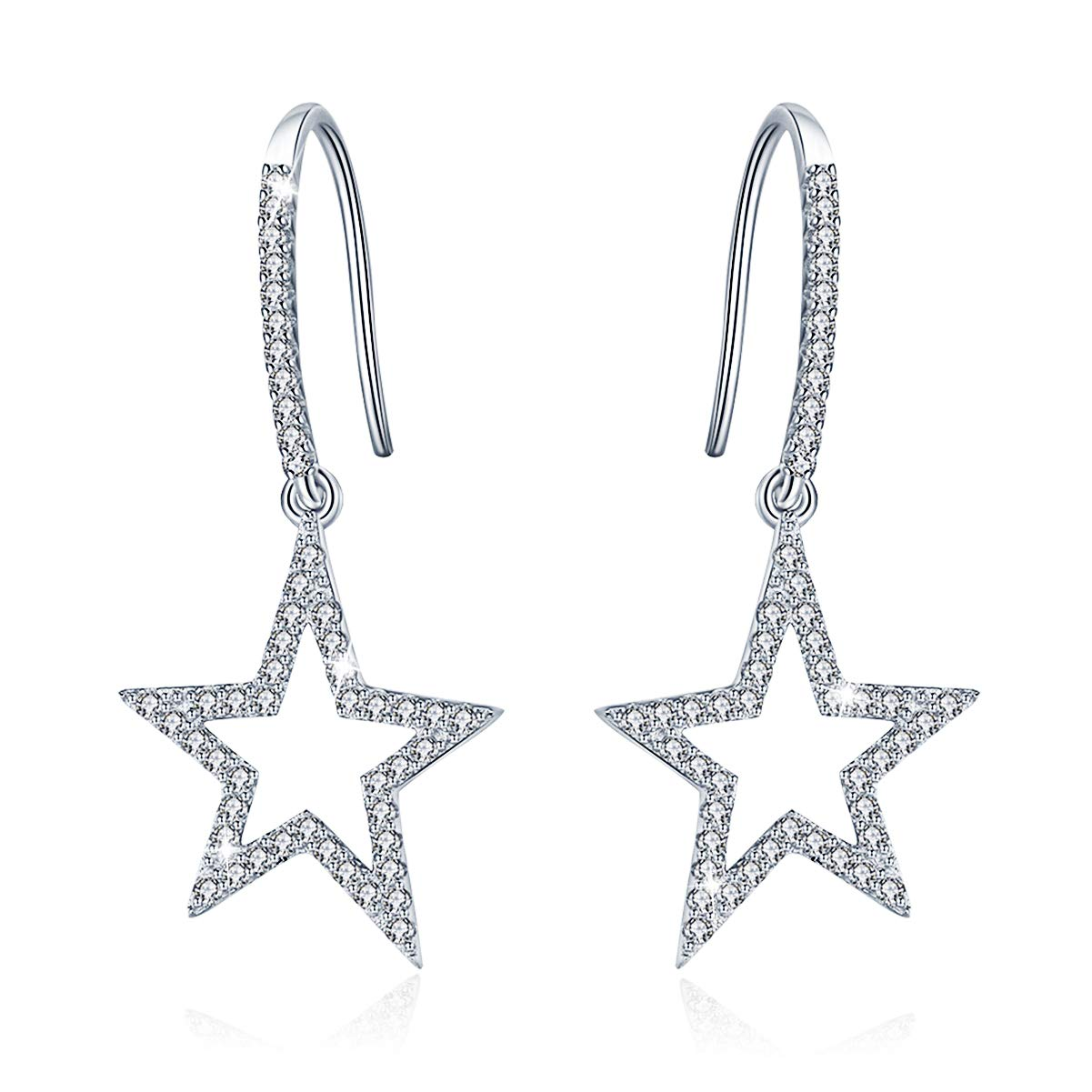 SIMPLOVE Stars Hypoallergenic Earrings 925 Sterling Silver with 5A Cubic Zirconia, Jewelry Accessories for Banquet Party Appointment Wedding, Passed SGS Inspection by SIMPLOVE