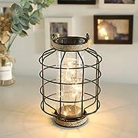 JHY DESIGN Linternas decorativas Linternas de vela de acero inoxidable de 31,5 cm de alto con vidrio templado para…
