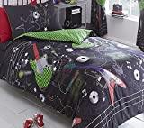 Kidz Club Reversible Design Guitar Rock Single Duvet Quilt Cover and Pillowcase Bedding Bed Set for Teenagers, Black