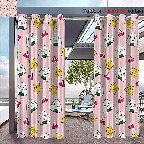 (DESPKON Shading of Outdoor Curtains Crying Cute Carto Rice Balls Cherries Stars Stripes Bathroom Suitable for Outdoor Room. W120 x L108 INCH)