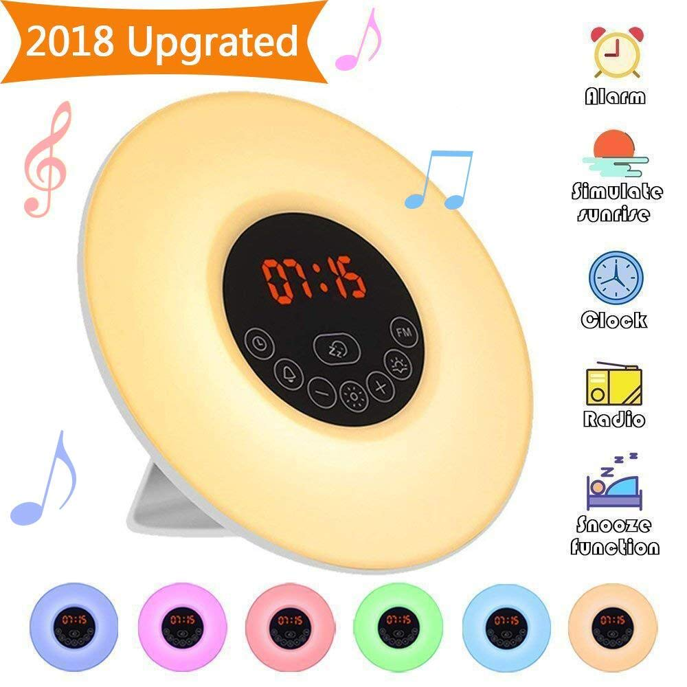 Wake Up Light,Elfeland Radio Alarm Clocks LED Bedside Lights Touch Control Night Light Sunrise & Sunset Simulator Mode 6 Nature Sounds &7 Colors Light Modes FM Radio Function Snooze Function 10 Dimming Brightness Levels Night Lamp Ideal for Home, Bedroom & Gift product image