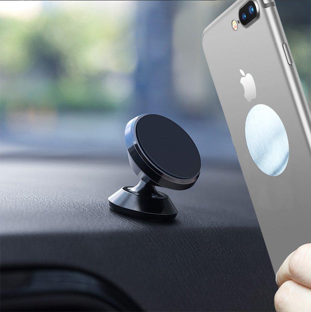 Soporte Magnéticos para Coche, Soporte Móvil Coche Magnético Universal con Superficie de Cuero para Salpicadero, 360° Rotación Soporte Móvil Coche para Samsung Huawei iPhone SUPRBIRD