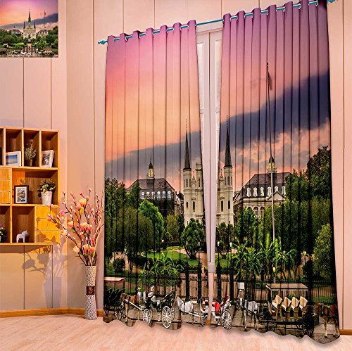 SeptSonne 2 Panel Set Digital Printed Window Curtains Jackson Square New Orleans for Bedroom Living Room Dining Room(W84 x L108 Pair) Jackson Square Light