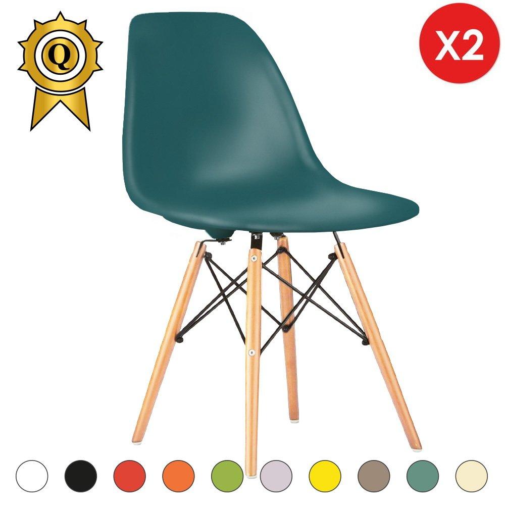 Promo 2 x Chaise Design Inspiration Eiffel Pieds Bois Clair Assise Bleu Ocean Mobistyl® DSWL-BO-2