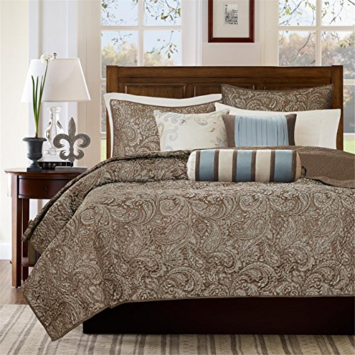 Madison Park Aubrey Full/Queen Size Quilt Bedding Set - Blue, Brown, Paisley Jacquard – 6 Piece Bedding Quilt Coverlets – Ultra Soft Microfiber Bed Quilts Quilted Coverlet - Quilted Paisley