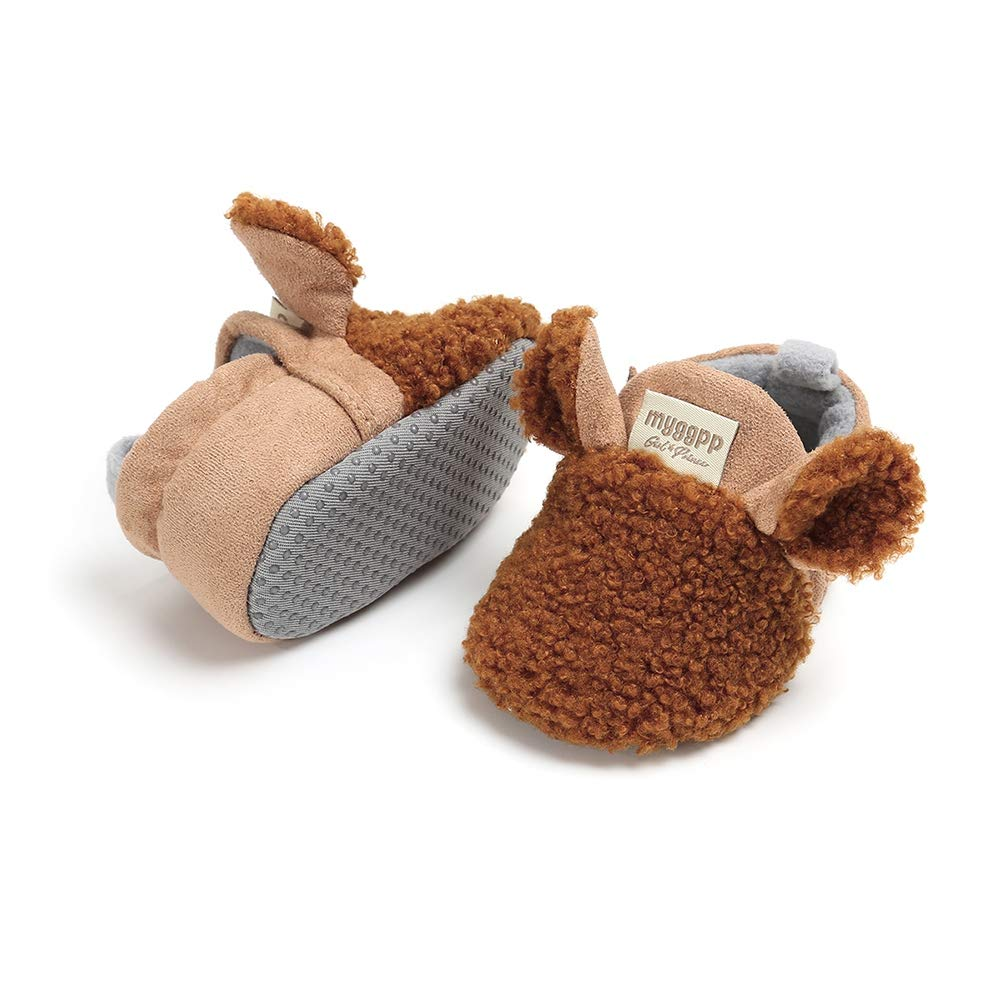 Weixinbuy Kid Toddler Baby Boys Girls Anti-Slip Soft Bottom Faux Fur Winter Warm Shoes