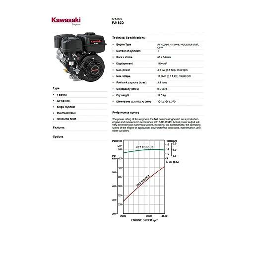 Motor Kawasaki fj180d 5, 5 CV para motoazada o motocultor: Amazon ...