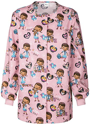 Tooniforms by Cherokee Women's Crew Neck Doc McStuffins Print Warm-Up Scrub Jacket X-Small Print]()