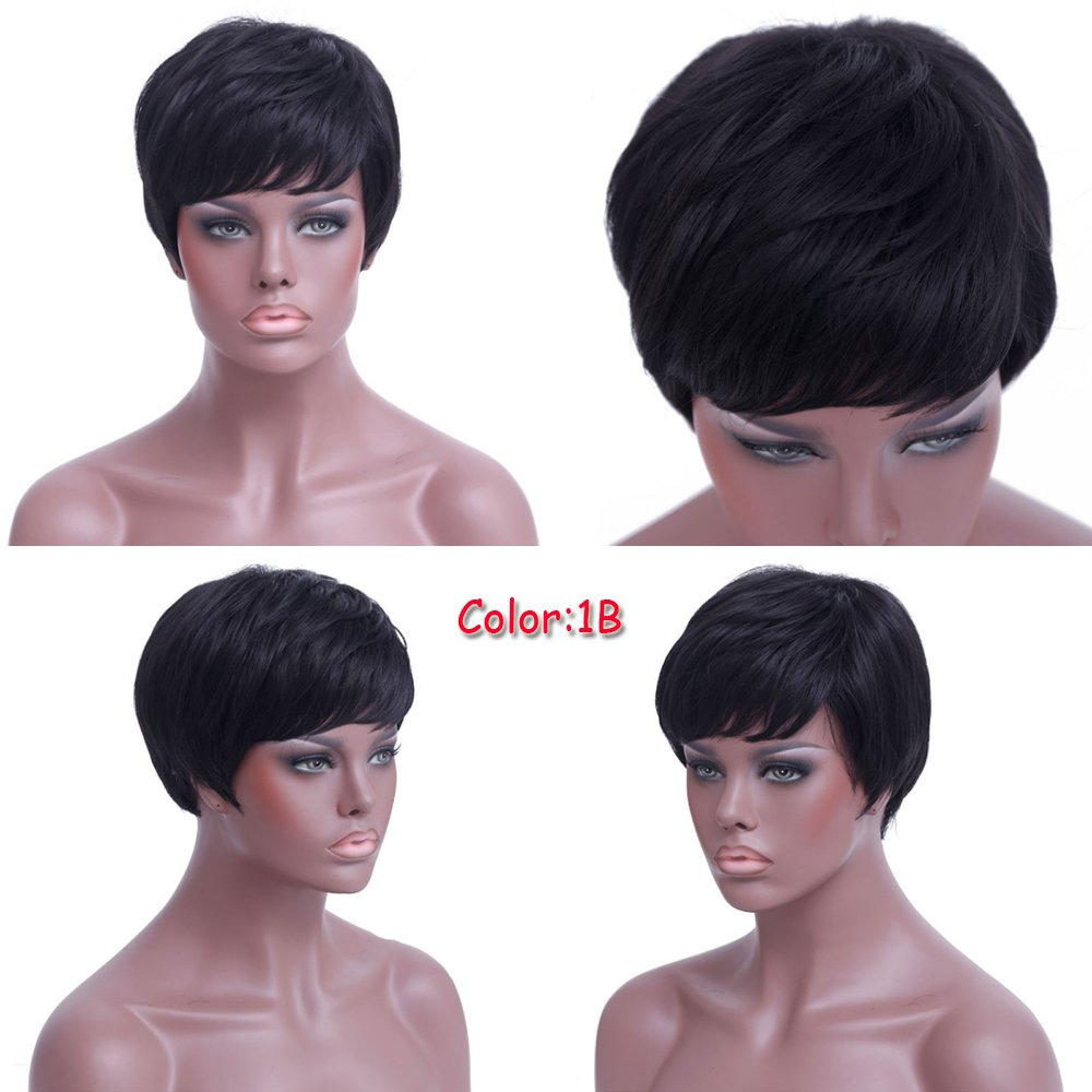 Amazon.com : Short Black Pixie Cuts Hair Synthetic Short Wigs For ...
