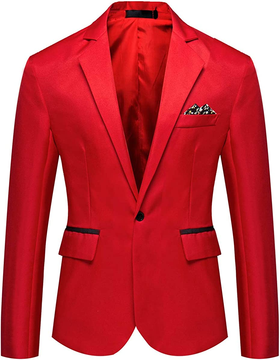 Mens Casual Suit Jacket Slim Fit One Button Notched Lapel Business Daily Lightweight Blazer Jacket
