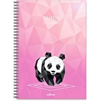 Lé Color 2018044/2 Polygonal Esnek Karton Kapak, Siyah Spiralli Renkli Kenar Boyama Kareli Panda