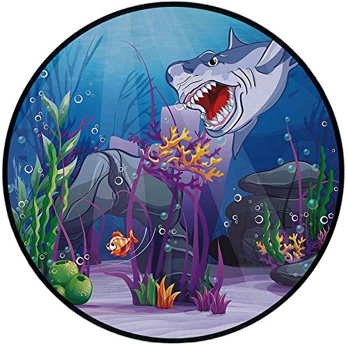Printing Round Rug,Ocean,Cartoon Style Underwater World Plants and Evil Shark Chasing Little Fish Illustration Mat Non-Slip Soft Entrance Mat Door Floor Rug Area Rug For Chair Living Room,Multicolor ()