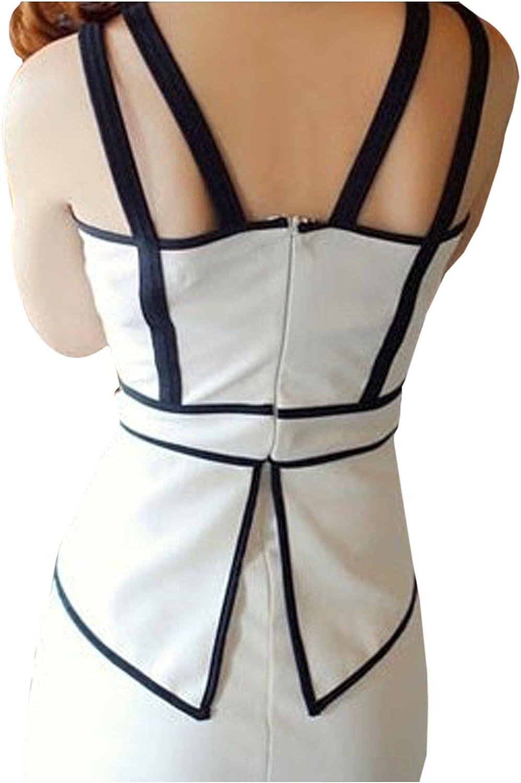 CA Fashion Womens Spaghetti Strap Hip-wrapped Color Blocking Peplum Club Dress