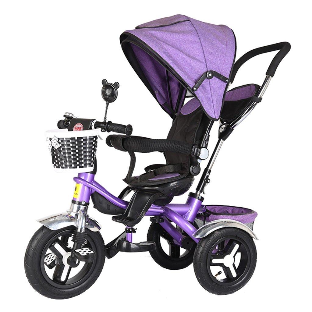 KANGR-子ども用自転車 多機能4-in-1折りたたみ式子供用三輪車キッドトロリープッシュハンドルステーラー自転車、アンチUV日よけ| 1-3-6歳の少年少女と赤ちゃんのおもちゃ|ロータリー席| |ブレーキ付きインフレータブルラバー3輪バイク ( 色 : パープル ぱ゜ぷる ) B07BTYBSNG パープル ぱ゜ぷる パープル ぱ゜ぷる