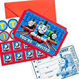 """Amscan Thomas The Tank Engine Birthday Party Die-Cut Postcard Invitations, Blue/Red, 3 7/8"""" x 5 5/8"""""""