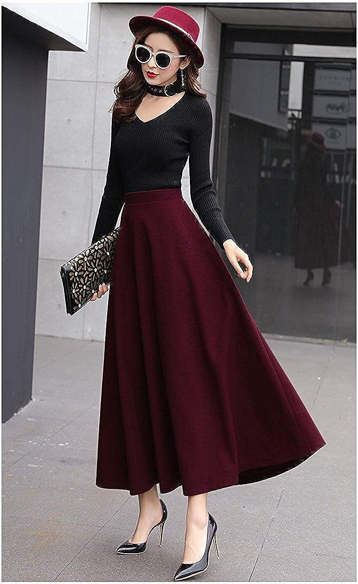 RIZ-ZOAWD Womens Retro Elegant Woolen Long Skirt Elastic Waist A-Line Solid Color Autumn and Winter Warm Skirt
