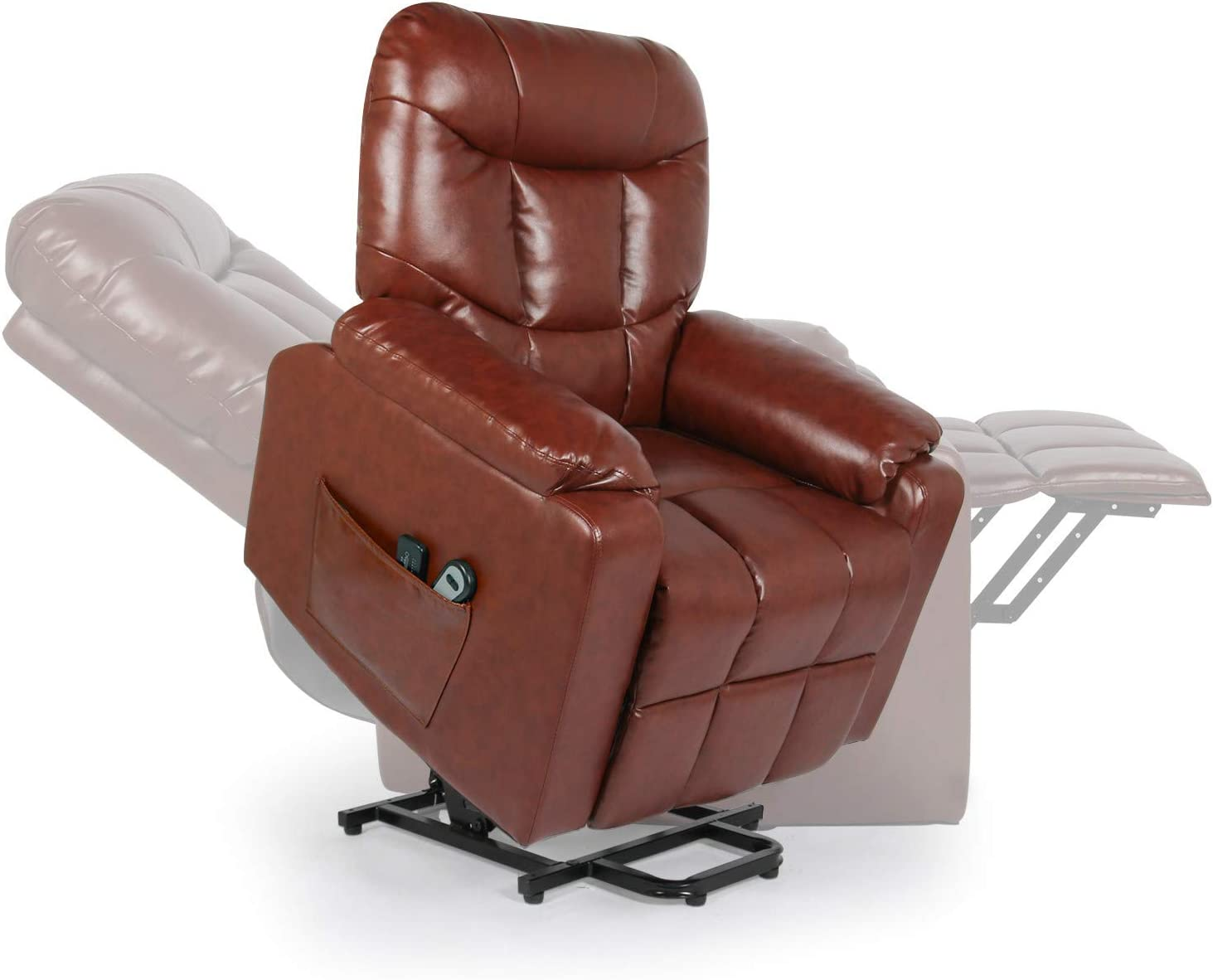 Home Power Lift Recliner Chair for Elderly with Massage, Faux Leather Lounge Chairs for Living Room Classic Single Sofa with Side Pockets Home Theater Seat (Red Brown)