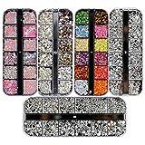Ranvi 3000 Piezas (5 Cajas) Kit de diamantes de imitación de arte de uñas Piedras de diamante de imitación con 1 pieza, clavos multicolores Diamantes de ojo de caballo para suministros de decoración de arte de uñas
